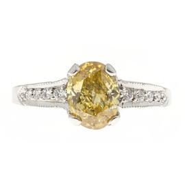 Peter Suchy 1.07ct. Oval Yellow Diamond Platinum Micro Pave Ring Size 5.5