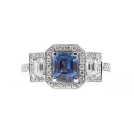Peter Suchy 950 Platinum 1.53ct Sapphire & Diamond Triple Halo Engagement Ring Size 6