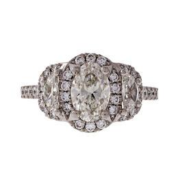Peter Suchy 0.95ct Oval Half Moon Triple Halo Platinum Diamond Engagement Ring