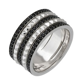 Stephen Webster 925 Sterling Silver Superstud Spinner Ring 3 Rows Of Pave Black Sapphire Ring Size 7