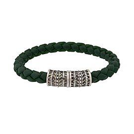 Stephen Webster 925 Sterling Silver Highwayman Woven Green Rubber Bracelet