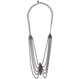 Stephen Webster 925 Sterling Silver Superstud Black Pave Ruby Lariat Necklace