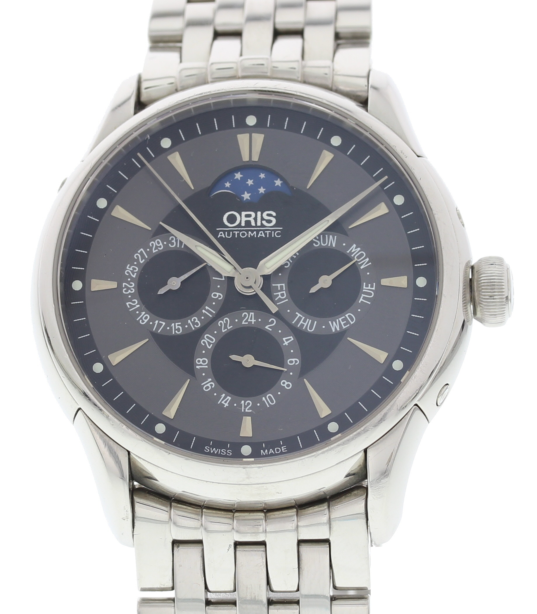 "Image of ""Oris Artelier 7592 Stainless Steel Grey Dial Automatic 40mm Mens Watch"""