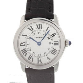 Cartier Ronde Solo 2933 Stainless Steel & Leather Quartz 29mm Womens Watch