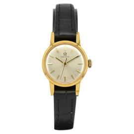 Omega Gold Plated / Leather with Silver Dial 21mm Womens Watch
