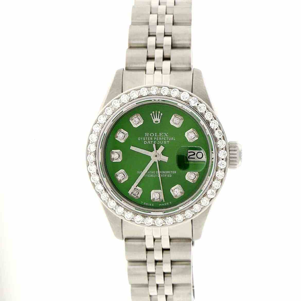 """Image of """"Rolex Datejust Stainless Steel & Olive Green Diamond Dial 26mm Womens"""""""
