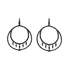 Stephen Webster 925 Sterling Silver Black Jewels Verne Bone Hoop Earrings