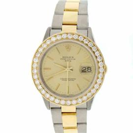 Rolex Date 15223 Stainless Steel & 18K Yellow Gold Champagne Index Dial 34mm Unisex Watch