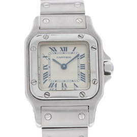Cartier Santos 1565 Stainless Steel White Dial Quartz 24mm Womens Watch