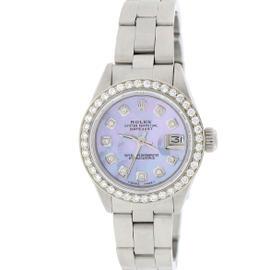 Rolex Datejust Stainless Steel Aqua Purple Mother Of Pearl Diamond Dial & Bezel 26mm Womens Watch