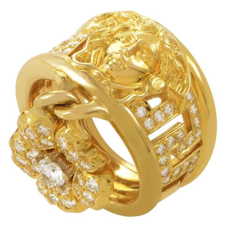"Image of ""Versace 18K Yellow Gold 1.35ct. Diamond Flower Charm Band Ring Size"""