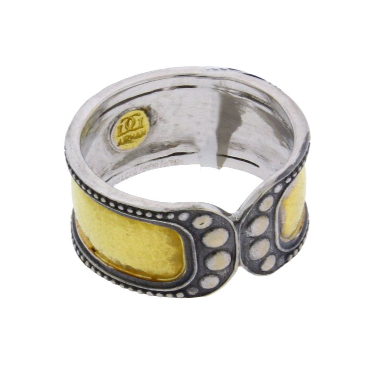 "Image of ""Gurhan 18K White Gold & 24K Yellow Gold Wide Tudor Ring Size 6.5"""