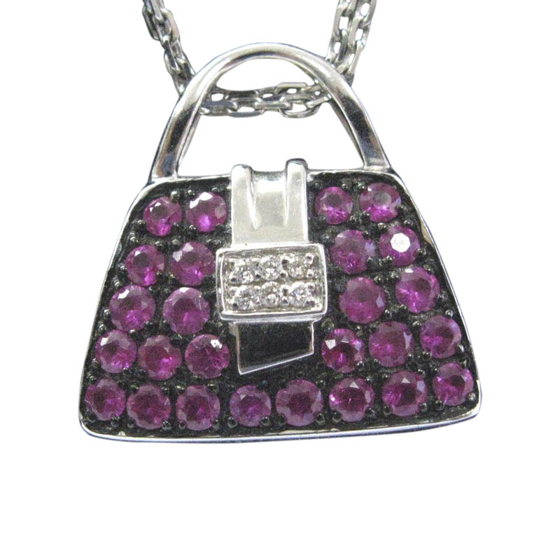"Image of ""Mirabelle 18K White Gold 1.00ct Pink Sapphire & .03ct Diamond Purse"""