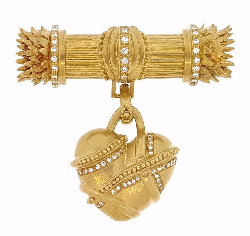"Image of ""Doris Panos 18K Yellow Gold & Diamond Heart Pendant Brooch"""