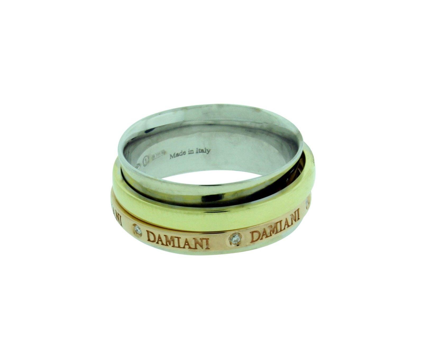 Damiani 18K Yellow Rose & White Gold Diamond Twister Band Ring Size 7