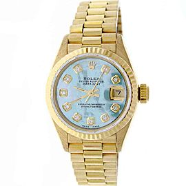 Rolex Datejust 69178 18K Yellow Gold with Blue Mother Of Pearl Dial 26mm Womens Watch
