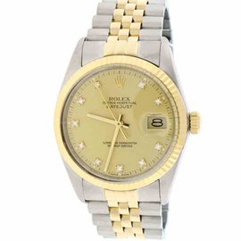 Rolex Datejust 18K Yellow Gold & Stainless Steel Champagne Diamond Dial 36mm Unisex Watch