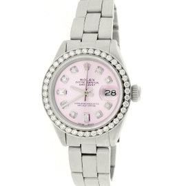 Rolex Datejust Stainless Steel Pink Diamond Dial & Bezel 26mm Womens Watch