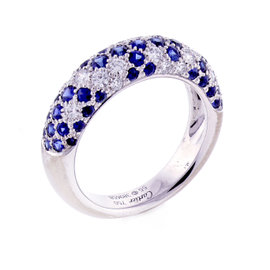 Cartier 18K White Gold Sapphire and Diamond Band Ring Size 7.25