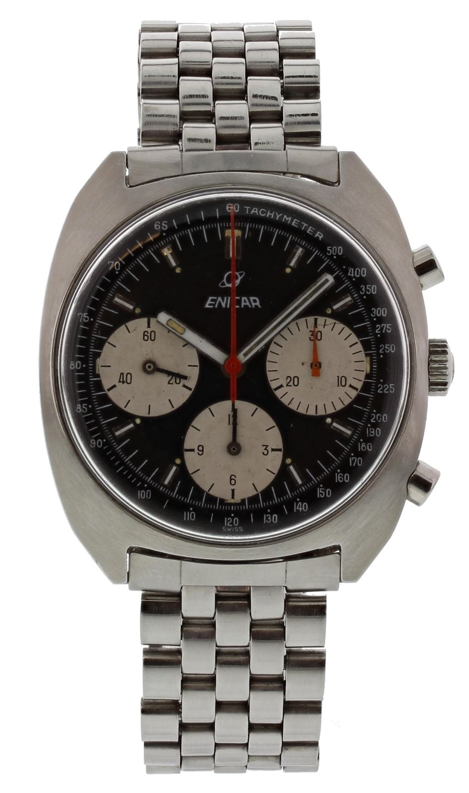 """Image of """"Enicar Chronograph 072-01-03 Stainless Steel Vintage 37mm Mens Watch"""""""