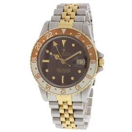 Rolex GMT Master 16753 18K Yellow Gold/Stainless Steel Brown Dial Vintage 40mm Mens Watch