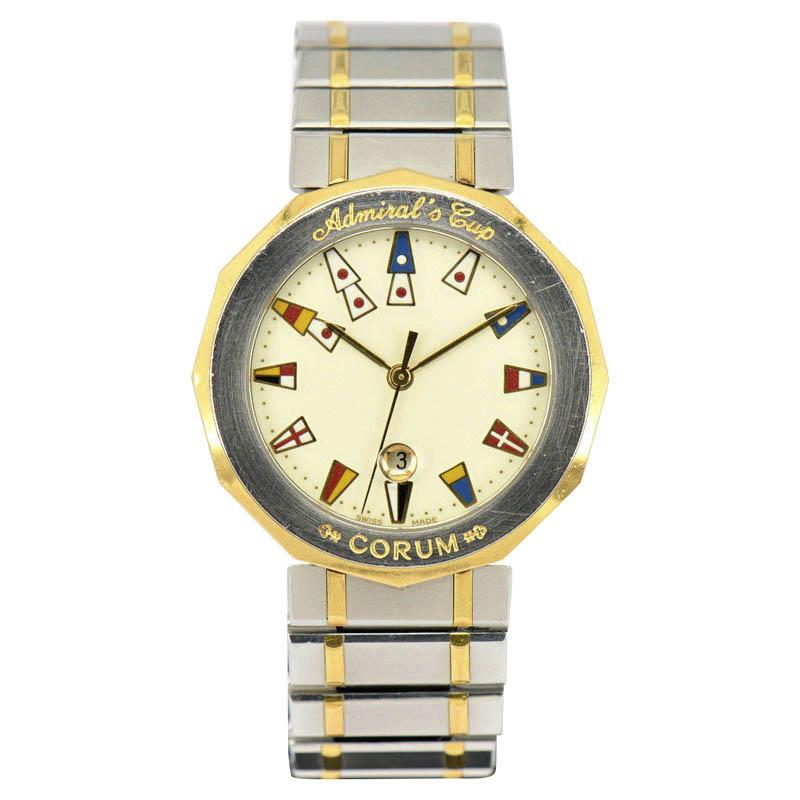 """""Corum Admirals Cup 18K Yellow Gold / Stainless Steel 35mm Mens Watch"""""" 1780264"