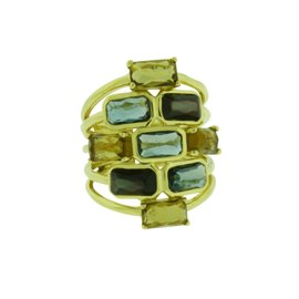 Ippolita Rock & Candy 18K Yellow Gold with Gelato Mosaic Cascade Ring Size 7