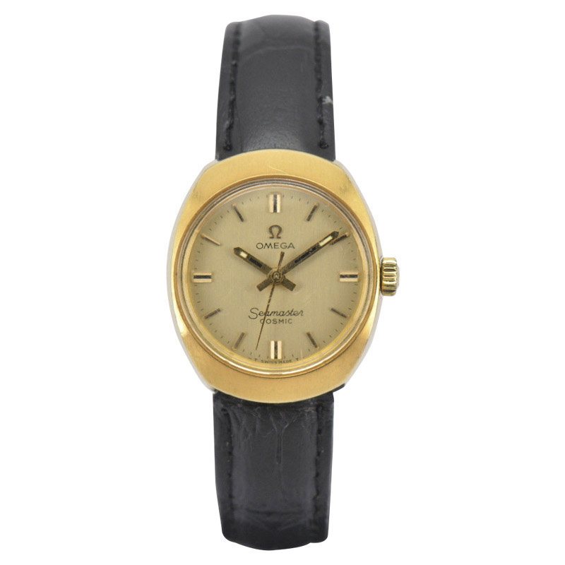 "Image of ""Omega Seamaster Cosmic 535016-Tool Gold Plated / Leather Vintage 24mm"""