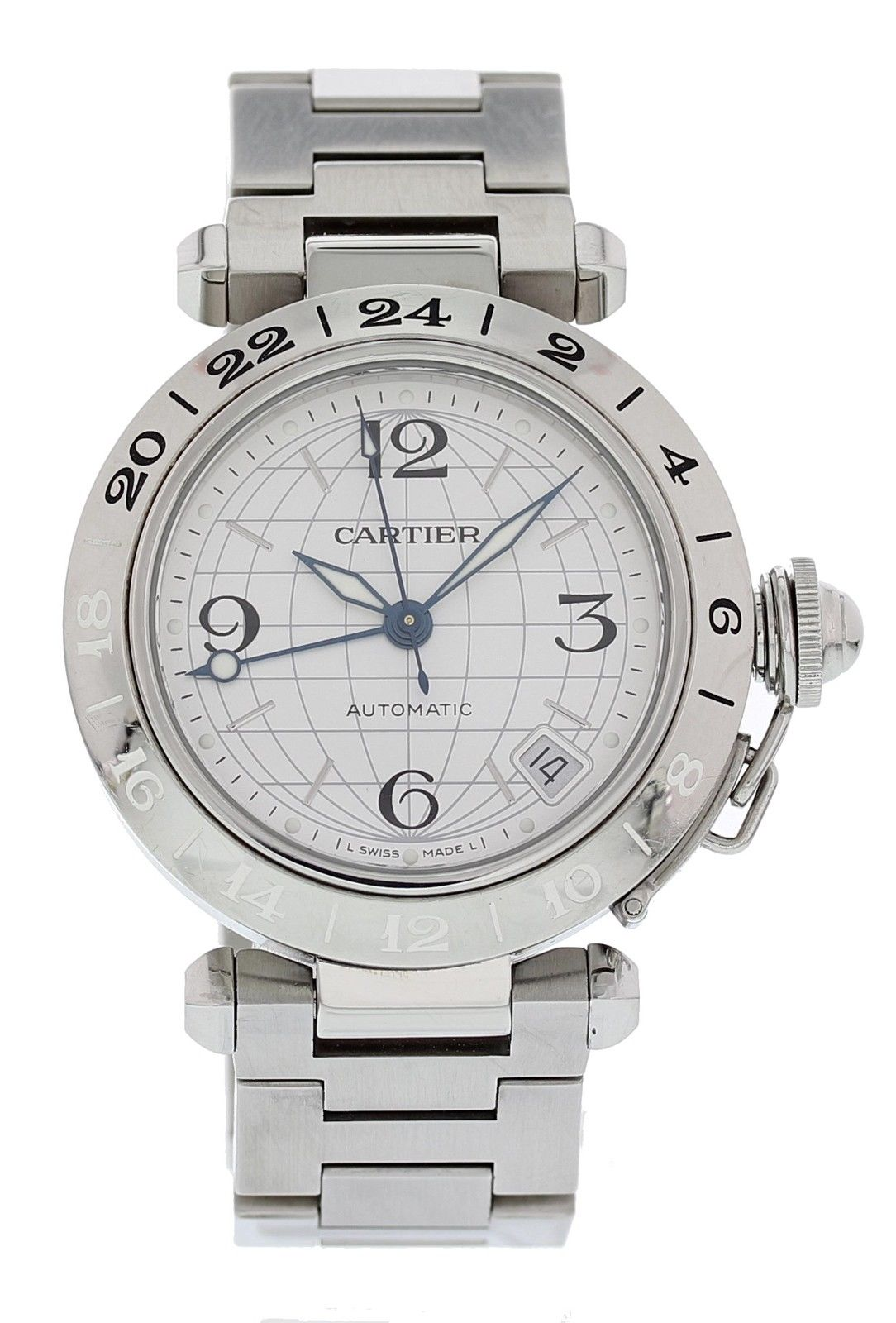 "Image of ""Cartier Pasha 2377 Stainless Steel Automatic 35mm Mens Watch"""