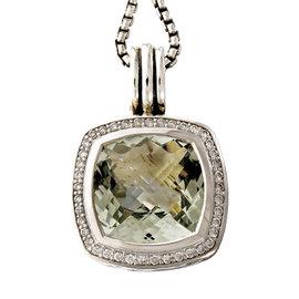 David Yurman Albion 925 Sterling Silver & 585 Yellow Gold with Prasiolite / .27ct Diamond Pendant Necklace