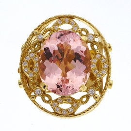 Doris Panos 18K Yellow Gold with 23.06ct Morganite and 1.00ct Diamond Pendant