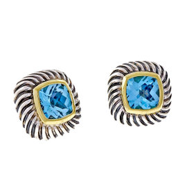 David Yurman Albion 14K Yellow Gold and 925 Sterling Silver with Blue Topaz Earrings
