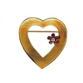 Cartier 14K Yellow Gold Red Ruby Heart Flower Pin