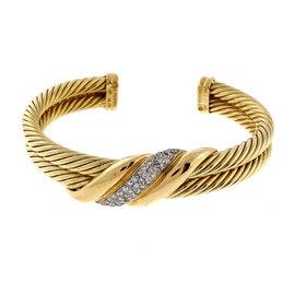 David Yurman 18K Yellow Gold 0.50ct Diamond Row Cable Bracelet