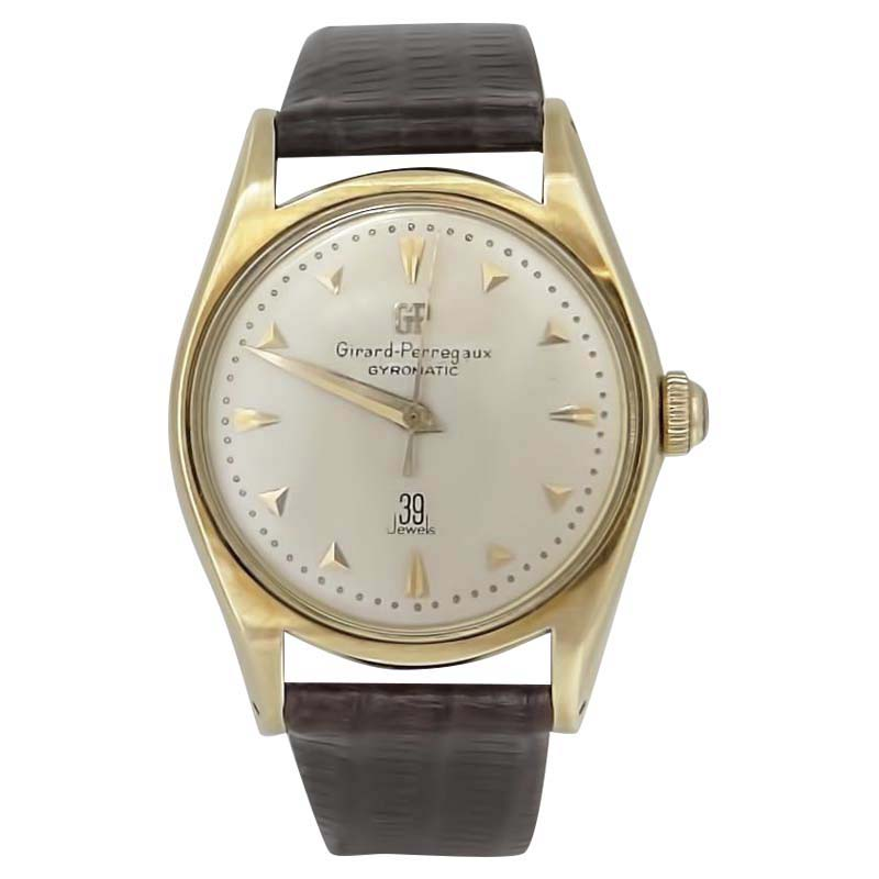 "Image of ""Girard Perregaux 14K Yellow Gold & Leather Automatic 33mm Mens Watch"""