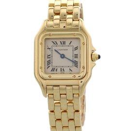 Cartier Panthere 18K Yellow Gold White Dial Quartz 22mm Womens Watch