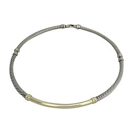 David Yurman 14K Yellow Gold 925 Sterling Silver Metro Three Part Cable Choker Necklace
