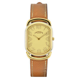 Hermes Rallye Stainless Steel / Gold Plated & Leather Quartz 25.5mm Unisex Watch
