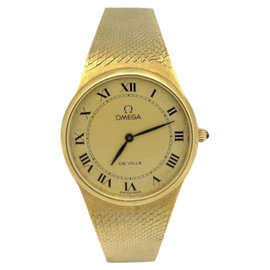 Omega Deville 18K Yellow Gold / Mesh 28mm Womens Watch