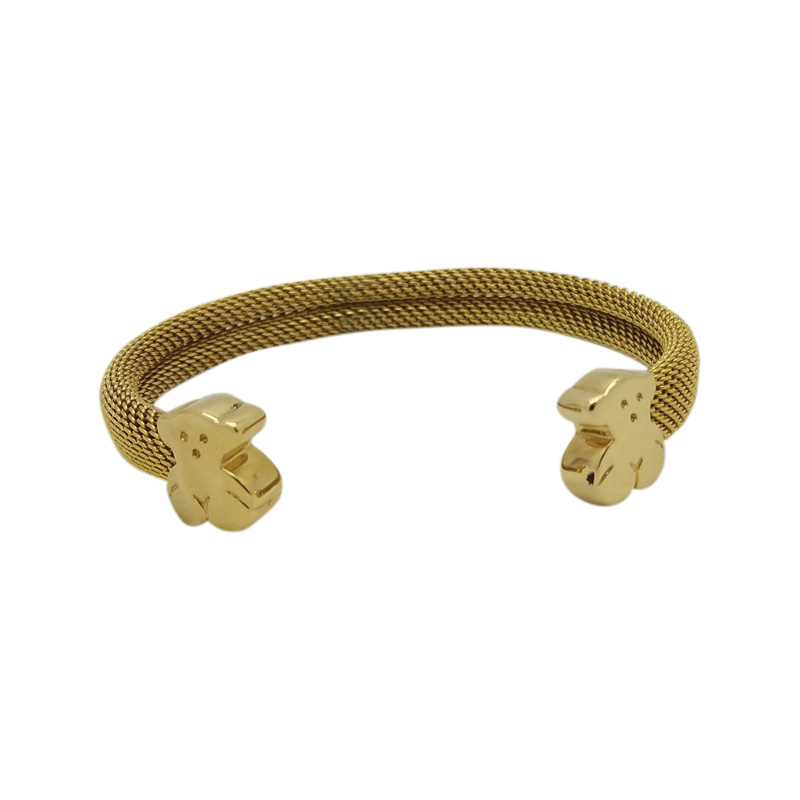 "Image of ""Tous 18K Yellow Gold and Stainless Steel Mesh with Bear Cuff Bracelet"""