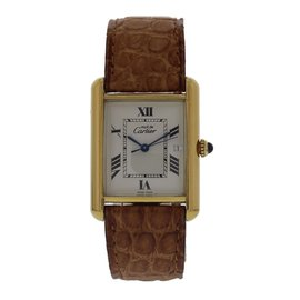 Cartier Tank 2413 Argent and Leather Vintage 22mm Womens Watch