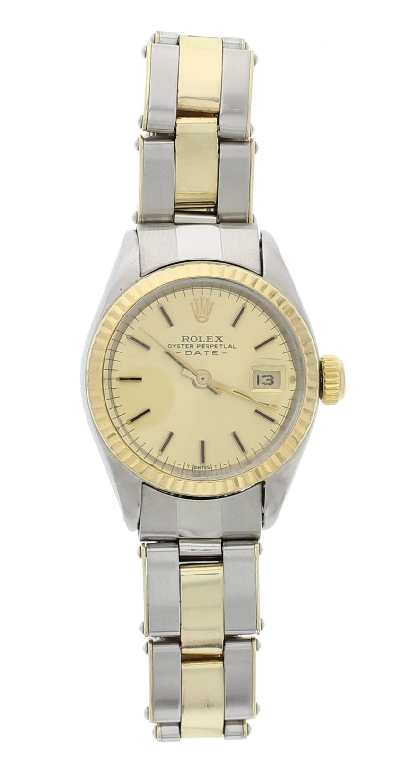 """Image of """"Rolex Oyster Perpetual Date 6916 Two Tone Stainless Steel Vintage 26mm"""""""