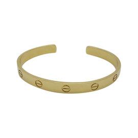 Cartier 18K Yellow Gold Love Cuff Bracelet Size 18