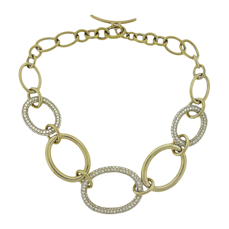 """Image of """"18K Yellow Gold & 10.50ct. Diamond Large Hoop Link Choker Necklace"""""""