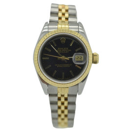 Rolex Datejust 69173 Black 18K Yellow & Stainless Steel Automatic 26mm Womens Watch