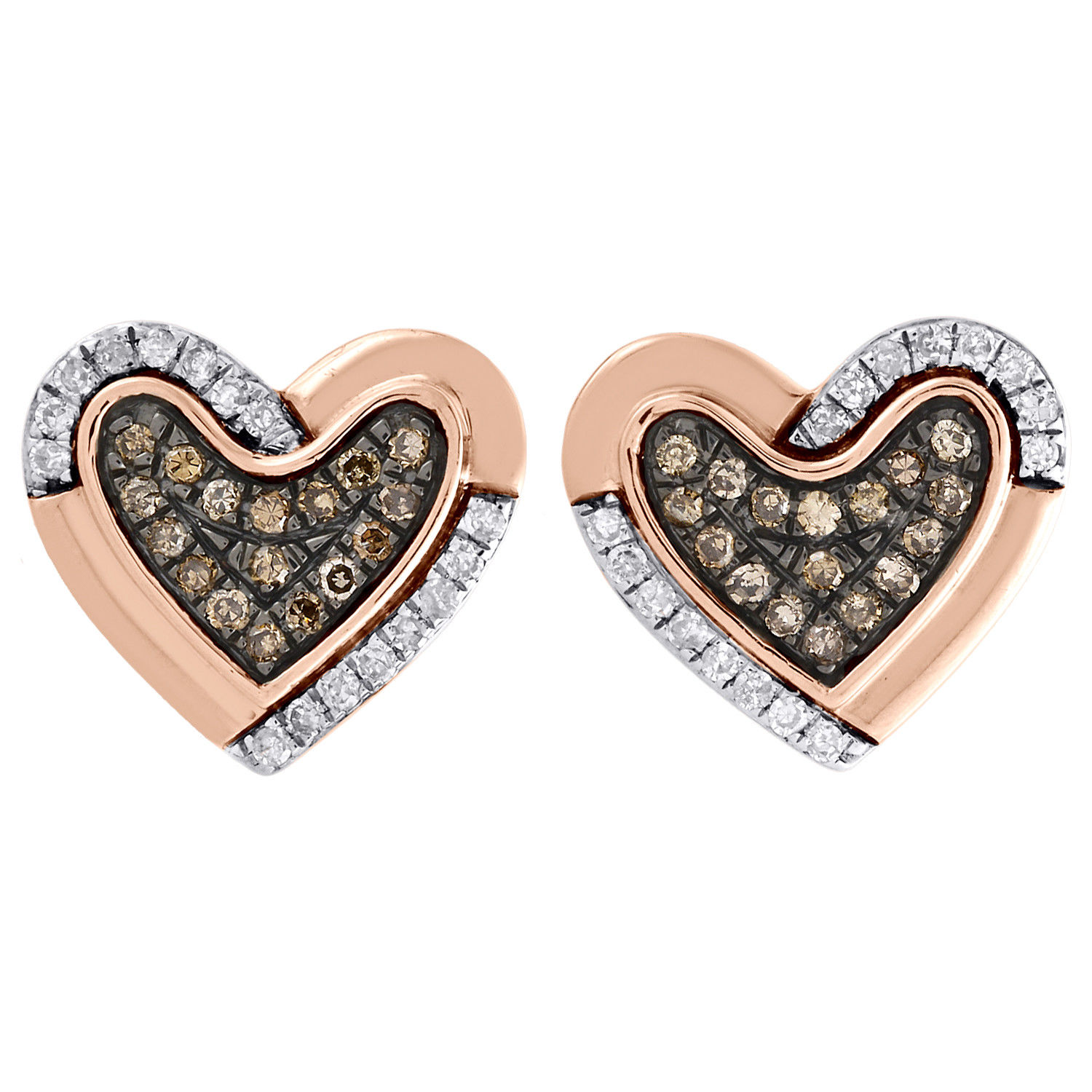 """Image of """"10K Rose Gold 0.25ct Brown and White Diamond Heart Shape Studs"""""""