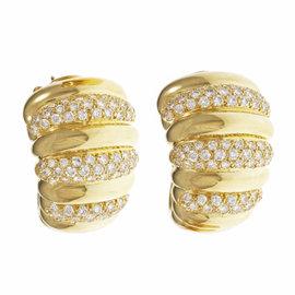 Van Cleef & Arpels 18K Yellow Gold Diamond Hoop Ear Clips Earrings