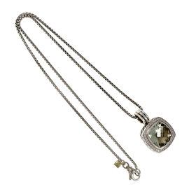 David Yurman Sterling Silver Albion Prasiolite Diamond Pendant Necklace
