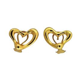 Tiffany & Co. Peretti 18K Yellow Gold Heart Post Earrings