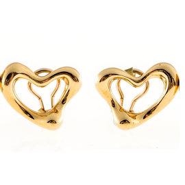 Tiffany & Co. Peretti 18K Yellow Gold Open Heart Clip Post Earrings